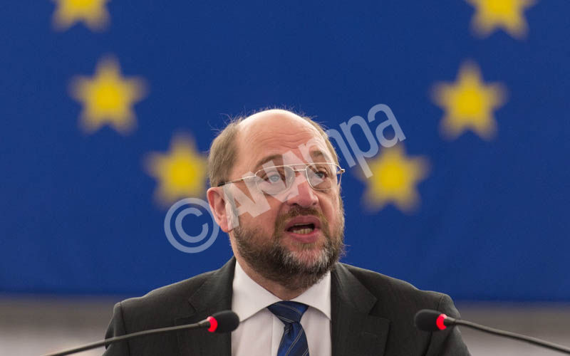 Martin Schulz, President of the European Parliament, makes a speech about the Preparations for the European Council meeting in the European Parliament in Strasbourg, France, 17 December 2014.  EPA/PATRICK SEEGER
