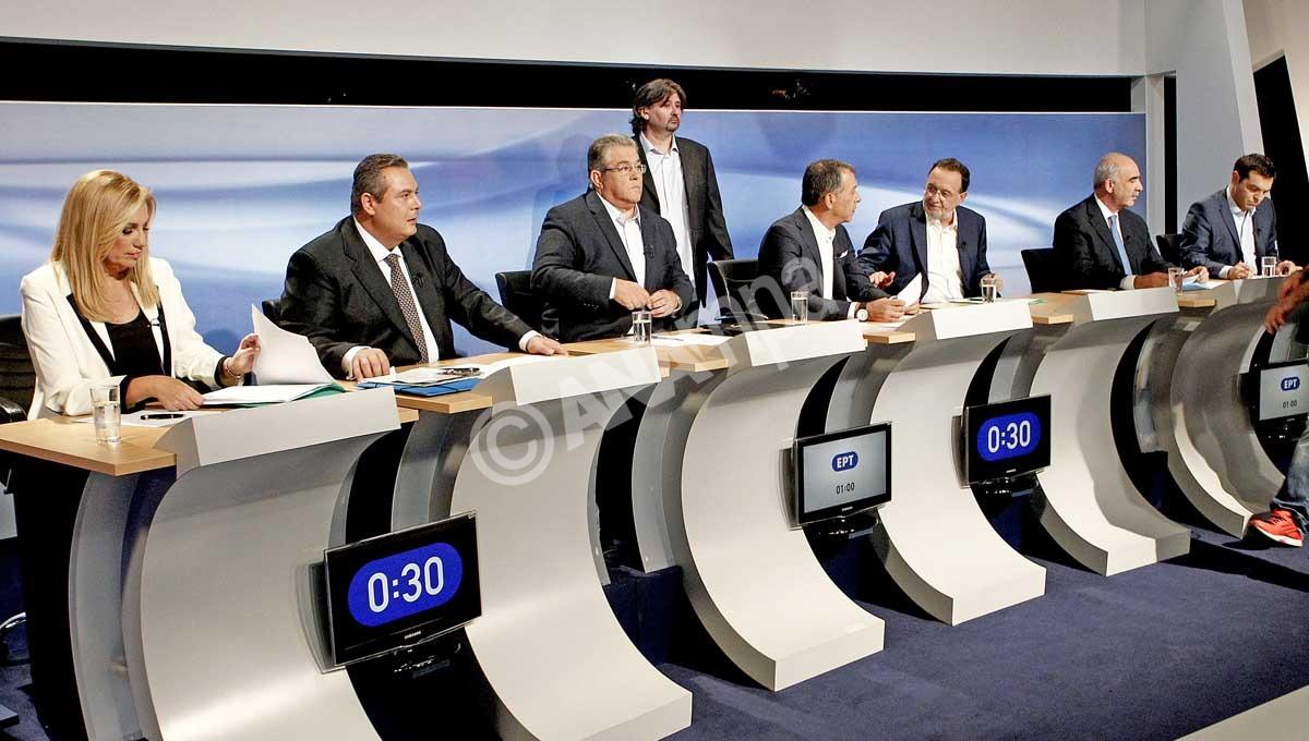 Ο πρόεδρος του ΣΥΡΙΖΑ Αλέξης Τσίπρας (7Α), ο πρόεδρος της Νέας Δημοκρατίας Ευάγγελος Μειμαράκης (6Α), ο επικεφαλής το υ Ποταμιού Σταύρος Θεοδωράκης (4Α), ο γγ του ΚΚΕ Δημήτρης Κουτσούμπας (3Α), η πρόεδρος του ΠΑΣΟΚ Φώφη Γεννηματά (Α), ο επικεφαλής της Λαϊκής Ενότητας Παναγιώτης Λαφαζάνης (5Α) και ο πρόεδρος των Ανεξάρτητων Ελλήνων Πάνος Καμμένος (2Α) έτοιμοι για να συμμετάσχουν στο ντιμπέιτ των πολιτικών αρχηγών, Τετάρτη 9 Σεπτεμβρίου 2015. Πραγματοποιήθηκε στο Ραδιοτηλεοπτικό Μέγαρο της ΕΡΤ η τηλεοπτική αναμέτρηση των πολιτικών αρχηγών για τις εκλογές, της 20ης Σεπτεμβρίου. ΑΠΕ-ΜΠΕ/ΑΠΕ-ΜΠΕ/ΠΑΝΤΕΛΗΣ ΣΑΪΤΑΣ