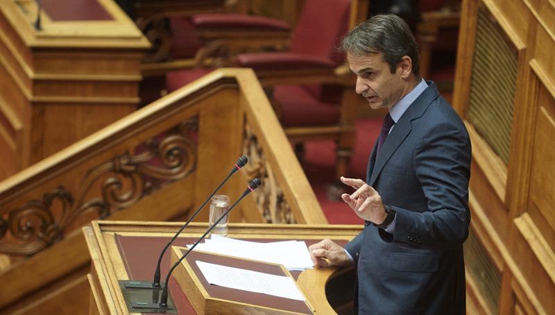 (Ξένη Δημοσίευση) Ο πρόεδρος της ΝΔ Κυριάκος Μητσοτάκης  μιλάει στη συζήτηση και λήψη απόφασης, επί της προτάσεως που κατέθεσε ο πρόεδρος της ΝΔ, για σύσταση Εξεταστικής Επιτροπής, σχετικά με τη διερεύνηση των αιτιών επιβολής τραπεζικής αργίας και κεφαλαιακών περιορισμών, υπογραφής του τρίτου Μνημονίου και ανάγκης νέας ανακεφαλαιοποίησης των πιστωτικών ιδρυμάτων, Τρίτη 26 Ιουλίου 2016. ΑΠΕ-ΜΠΕ/ΓΡΑΦΕΙΟ ΤΥΠΟΥ ΝΔ/ΔΗΜΗΤΡΗΣ ΠΑΠΑΜΗΤΣΟΣ