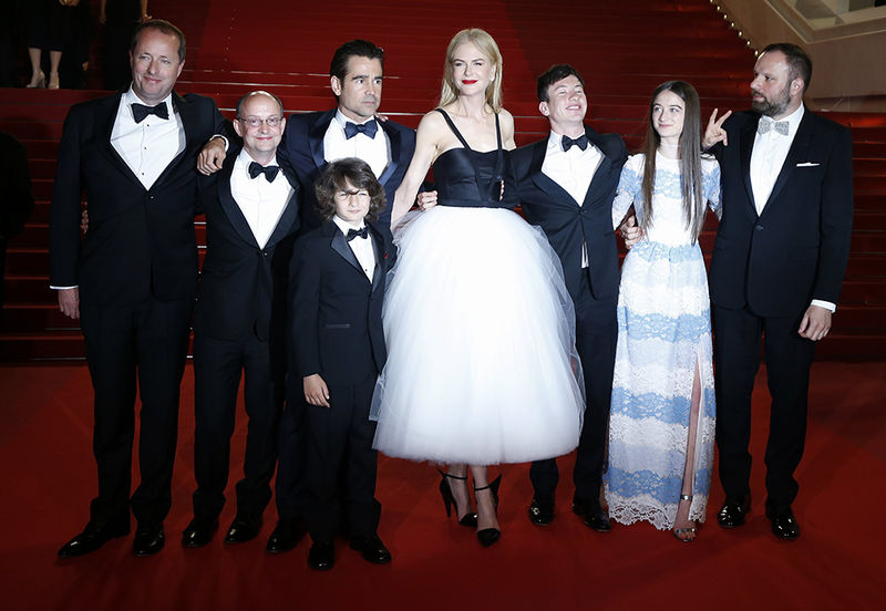 epaselect epa05982436 (L-R)  Actor Andrew Lowe, Producer Ed Guiney, Irish actor Colin Farrell, US actor Sunny Suljic, Australian actress Nicole Kidman, Irish actor Barry Keoghan, British actress Raffey Cassidy and Greek director Yorgos Lanthimos  leave the premiere of 'The Killing of a Sacred Deer' during the 70th annual Cannes Film Festival, in Cannes, France, 22 May 2017. The movie was presented in the Official Competition of the festival which runs from 17 to 28 May.  EPA/SEBASTIEN NOGIER